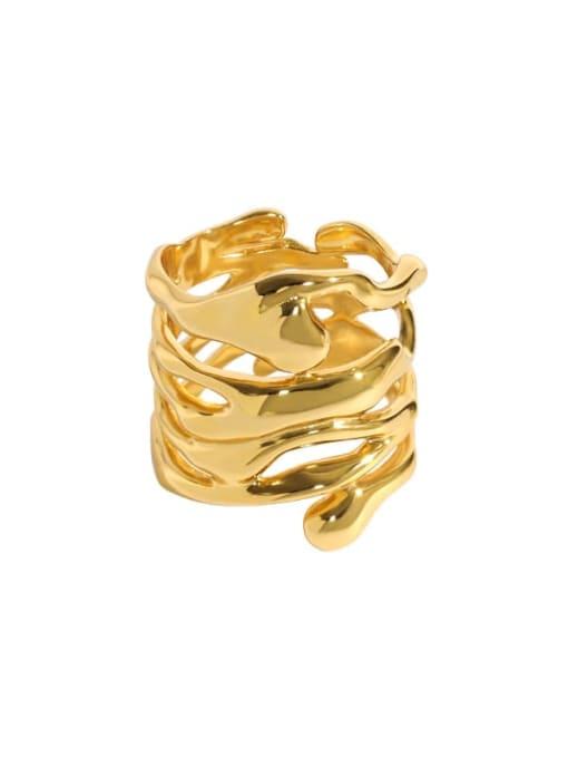 18K gold [14 adjustable] 925 Sterling Silver Hollow Irregular Vintage Stackable Ring